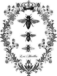 Vintage French Bees Flourish Digital Image Download