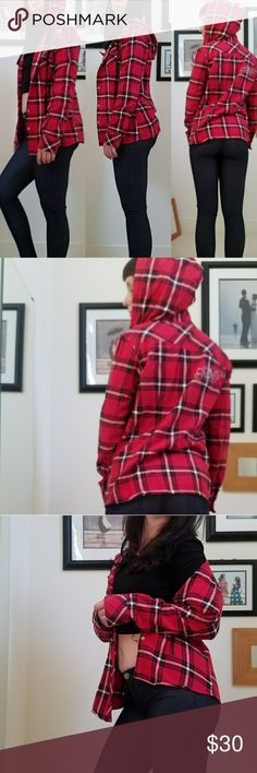 Fox Racing Hooded Flannel This is a boys flannel, but as you can tell from the pics you wouldn't know the difference.  Red and black classic flannel with snaps and pockets. Fox Racing Tops Sweatshirts & Hoodies