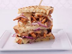 Our Best Grilled Sandwiches And Panini Recipes: Pulled Barbecued Chicken Panini With Swiss And Red Onion Grill Sandwich, Panini Sandwiches, Soup And Sandwich, Wrap Sandwiches, Chicken Panini, Grilled Chicken, Cooked Chicken, Onion Chicken, Grilled Vegetable Sandwich