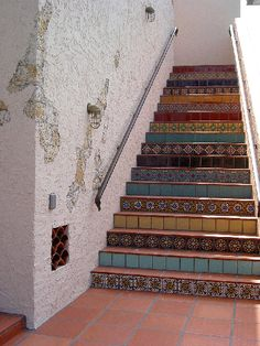 Residence, Coral Gables, Florida  Decorative stair risers by California Pottery