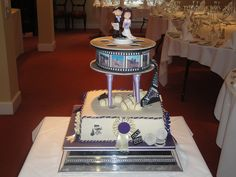 Film and horse themed wedding cake
