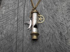 Clockpunk Steampunk Pendant Necklace, Steel & Brass Whistle with Silver Swallow and Brass Gear Charms on Brass Curb Link Chain