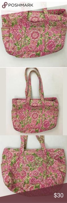 Vera Bradley bag SKU: SD15579  Width: 15 Material: Cotton Height: 10 Depth: 5.75 Strap Drop: 17.5 This is in good condition but does show a little slight fading and some pretty heavy wear on the straps. Please buy accordingly. Vera Bradley Bags Totes