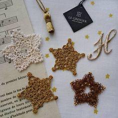 ゴールドの星  クリスマスに向けての製作スタート  #ブランボヌール#blancbonheur#タティングレース#tattinglace #frivolite #オーダーメイドレース #ordermadelace #ウエディング#wedding #ゴールド#gold #星#etoile #乙女座木星