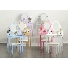 Shop for Moniys Wood Moniya Makeup Vanity Table and Stool Set. Get free delivery On EVERYTHING* Overstock - Your Online Furniture Store! Kids Makeup Vanity, Kids Vanity Set, Makeup Table Vanity, Vanity Set With Mirror, Childrens Vanity, Makeup Set, Kids Bedroom Furniture, Bedroom Decor, Plywood Furniture