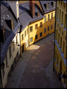 Calm street with window reflections - Stockholm