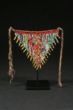 "Cache Sexe Kirdi people, Cameroon Glass Beads and Fiber 20th Century 4.5""h x 5""w"