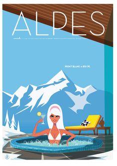 Les Alpes ~ The Alps _____________________________ France ~ Francia ~ Frankrijk Party Vintage, Look Vintage, Vintage Advertisements, Vintage Ads, Vintage Ski Posters, Stations De Ski, Tourism Poster, Travel Ads, Grafik Design