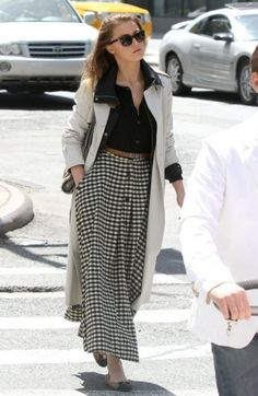 Amber Heard taking a stroll in NY wearing the perfect trench coat and gingham maxi skirt.