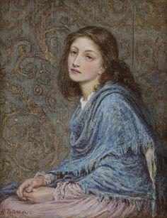 Helen Allingham 'Girl seated in blue' c.1873 watercolour, via Flickr.