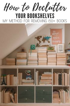Learn how to declutter your bookshelves with my method that helped me remove over 150 books from my shelves. If your shelves are overflowing with books and your TBR pile is out of control then check out my tips for decluttering. Declutter Books, Declutter Your Home, Decluttering, Happy Lights, Book Organization, Organizing Life, Organising, Old Chairs, Thing 1