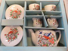 1950's China Tea Set. Bluebirds!