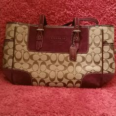 Brand New Authentic Coach pursue Purple suede and leather monogram Coach Bags Totes