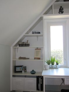 Built-in office nook from reused Ikea pieces, specifically a Billy bookcase.