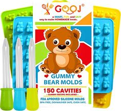 GoojGummy Bear Molds Recipe included on the box 3 Silicone Molds 150 gummy bears total 3 Droppers BPA Free 3 Pack Green blue and Yellow *** You can find out more details at the link of the image.Note:It is affiliate link to Amazon. #lasvega