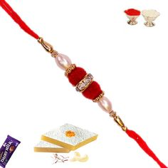 Picture of White Pearl Rakhi with Red Velvet Bead Bracelet Crafts, Beaded Bracelets, Quilling Rakhi, Handmade Rakhi Designs, Buy Rakhi Online, Send Rakhi To India, Rakhi Making, Raksha Bandhan, Emoji Wallpaper