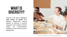 Definition of Diversity  Diversity is the state of having a wide variety of people from different backgrounds working together in harmony. It ensures inclusivity in the workforce; that all people are accommodated, regardless of their socio-economic backgrounds. There are many positive effects that diversity has on the business, its employees and other stakeholders. No one should be discriminated against ·Grade 12 Business Studies with Nonjabulo Tshabalala, South African Business Studies 16:9… What Is Diversity, Business Definition, Exam Papers, Business Studies, Information Graphics, Human Rights, Definitions, Workplace, Backgrounds