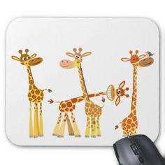 Cute and Whimsical Cartoon Giraffes: The Herd mousepad Giraffe Decor, Giraffe Art, Cute Giraffe Drawing, Giraffe Painting, Beautiful Creatures, Animals Beautiful, Baby Animals, Cute Animals, Cartoon Giraffe