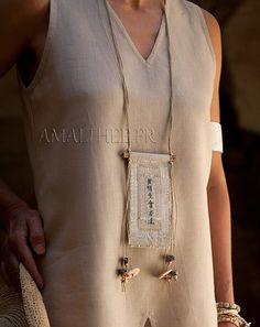 Fiber jewel: vintage linen necklace with ethnic beads