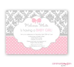 Baby shower girl pink and grey damask , polka dot  printable invitation