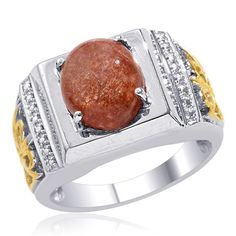 Liquidation Channel | Sri Lankan Sunstone Men's Ring in Platinum Overlay and 14K Yellow Gold Sterling Silver (Nickel Free)