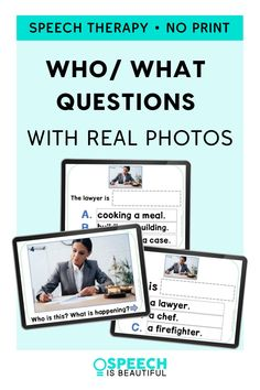 Looking for engaging materials to practice WH questions? This no print speech and language resource uses real photos for your students to practice WHO and WHAT questions. Students will also learn to describe professions in sentences. The no print PDF version makes it a great activity to use in teletherapy speech sessions. - Speech is Beautiful