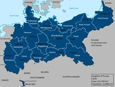 A map of the Kingdom of Prussia if Bismarck had been a Prussian nationalist rather than the architect of German unification and Prussia had pushed on to. Kingdom of Prussia in 1910 European Map, European History, World History, Ancient History, Family History, History Of Germany, Germany And Prussia, Fantasy Map, Alternate History