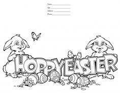 Happy Easter colouring card Easter colouringActivity Village