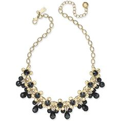 kate spade new york Sunset Blooms Gold-Tone Crystal Garland Necklace ($148) ❤ liked on Polyvore featuring jewelry, necklaces, black multi, floral necklace, crystal stone jewelry, floral jewelry, crystal necklace and collar jewelry