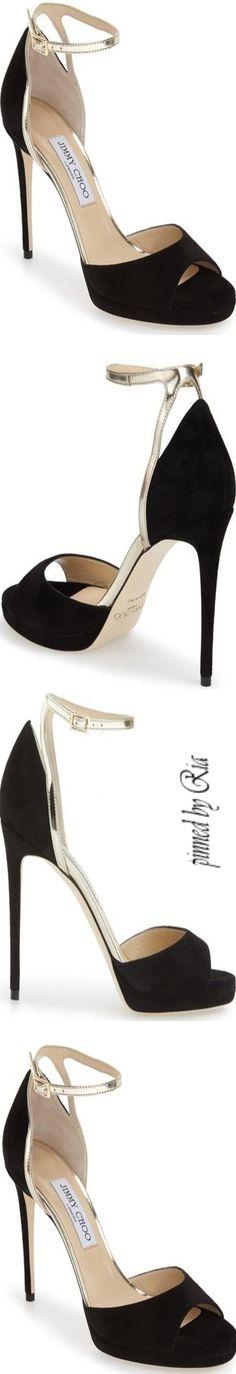 Jimmy Choo ~ Pearl Ankle Strap Platform Sandal l Ria