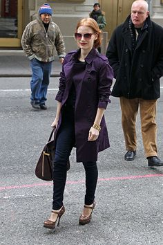 love the heels and purple trench.