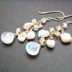 Rainbow Moonstone and Pearl Handmade Cascade Earrings