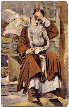1910 Italy Postcard Jewish Merchant in Greece