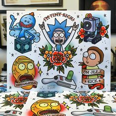 rick and morty tattoo - rick and morty . rick and morty painting . rick and morty wallpaper . rick and morty aesthetic . rick and morty tattoo . rick and morty quotes . rick and morty memes . rick and morty painting canvas Flash Art Tattoos, Tattoo Flash Sheet, Body Art Tattoos, Ship Tattoos, Gun Tattoos, Ankle Tattoos, Arrow Tattoos, Word Tattoos, Tattos