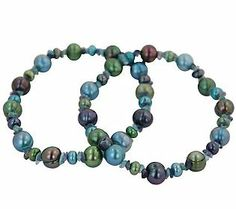 Honora 2 Cultured Freshwater Pearl Midnight Bracelet, Average J110398 Midnight
