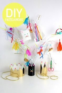 2 cat themed parties kids carnival, crafts for kids и cat themed p Crafts For Kids To Make, Fun Crafts, Paper Crafts, Kids Carnival, Carnival Crafts, Carnival Costumes, Cat Themed Parties, Diy Foto, Christmas Trees For Kids