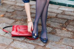 Ballerines vernies Varina Ferragamo — Mode and The City Ballet Flats Outfit, Ballerina Shoes, Fashion Tights, Fashion Flats, Shoe Palace, Blue Tights, Pantyhose Outfits, Crystal Shoes, Nylons Heels