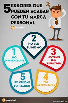 Hola: Una infografía con 5 errores que pueden acabar con tu Marca Personal. Vía Un saludo