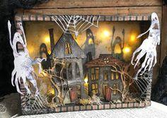Geister in den Schatten! Halloween Diorama, Halloween Shadow Box, Halloween Tags, Halloween Projects, Halloween Design, Fall Halloween, Halloween Decorations, Halloween 2020, Halloween Scrapbook