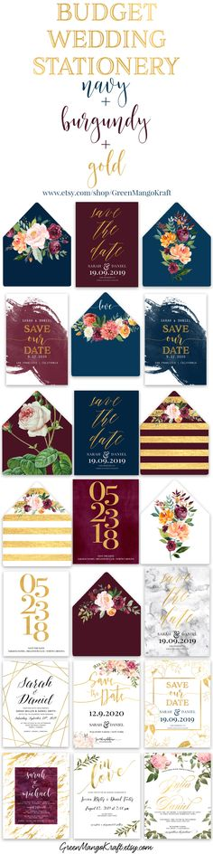 Navy + Burgundy + Gold wedding stationery at affordable prices!