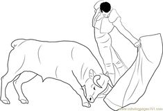 Spain Madrid Bullfight printable coloring page for kids and adults