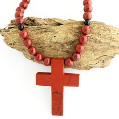 Bali Sand Stone Beaded Cross Necklace by ArtuneOnlineJewelry $10 Off any jewelry over $50. Use MARCHMADNESS16