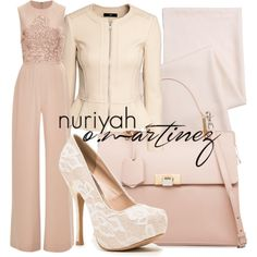 Hijab Outfit by Nuriyah O. Martinez      H M jacket €21-hm.com    Elie Saab jumpsuits romper €5.575-modaoperandi.com    Qupid white pumps €23-nordstromrack.com    Balenciaga handbag €1.880-balenciaga.com    Monki scarve monki.com