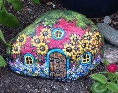 FAIRY GARDEN HOUSE Cute colorful hand painted by MyGardenRocks