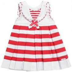 Mayoral Baby Girls Red and White Cotton Sailor Dress