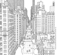 Avenue and East Street, Manhattan. Steve McDonald's colouring book – Fantastic Cities: A Colouring Book of Amazing Places Real and Imagined