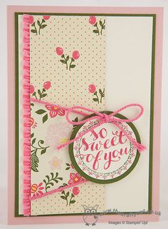All Abloom So Sweet of You Card. Hello There, All Abloom DSP Stack, Circle Punches, stretch ruffle trim. Joanne James Stampin' Up! UK Independent Demonstrator, blog.thecraftyowl.co.uk