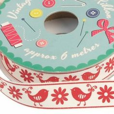 Vintage Crafts Bird & Flower Ribbon. Perfect for all your craft needs & gift wrap- six metres of red ribbon with white polka dots.