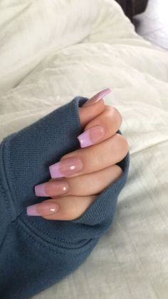 French Tip Acrylic Nails, Acrylic Nails Coffin Short, Simple Acrylic Nails, Summer Acrylic Nails, Best Acrylic Nails, Acrylic Nail Designs, Long French Tip Nails, Coffin Nails, Pink French Manicure