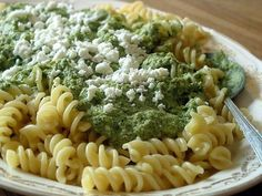 Velvety Broccoli and Feta Pasta by thekitchn: This pasta sauce is velvety-rich and creamy, plus nubby with flecks of feta cheese. And yet it has very little fat and dairy, aside from the feta, and nearly all of its body comes from steamed and blended broccoli. #Pasta #Broccoli #FEta